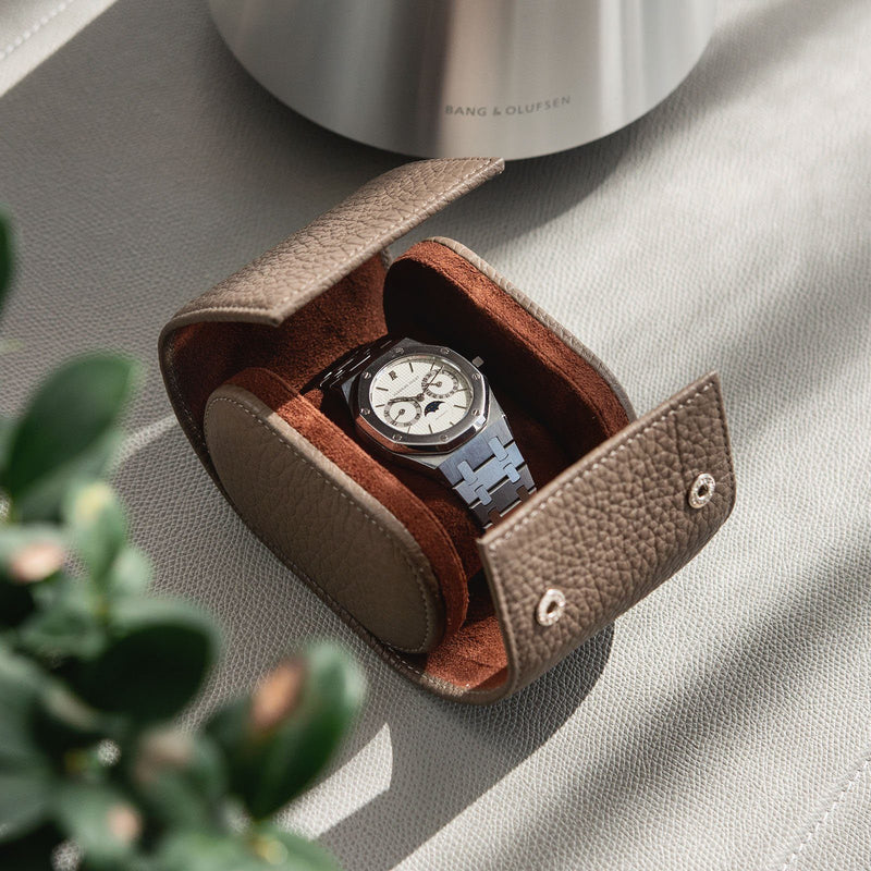 Oval Single Watch Taupe Leather Watch Tube