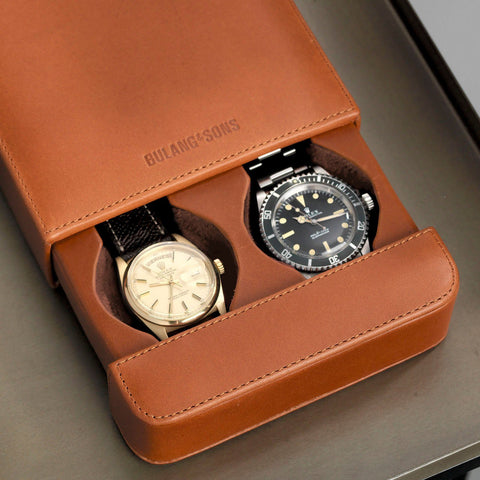 Vachetta Brown Leather 2 Watch Slider Box