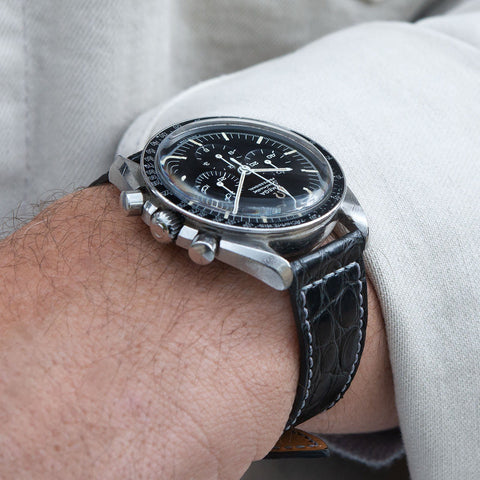 B&S Black Croco Retro Leather Watch Strap on an Omega Speedmaster Professional