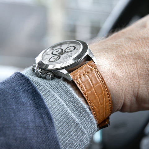 B&S Brown Croco Retro Leather Watch Strap on a Rolex Zenith Daytona