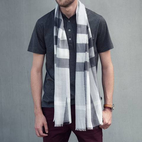 Burberry Lighweight Silk Gauze Check Scarf