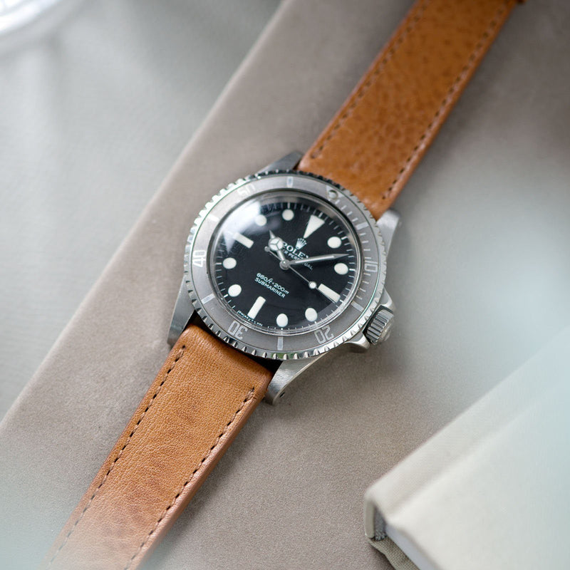 Gilt Brown Tonal Leather Watch Strap