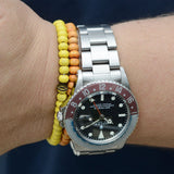 Happy Beads Bracelets Citrus Vibes on a Rolex 1675 Mk2 Dial GMT Master