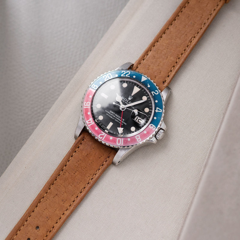 B&S Peccary Brown Heritage Leather Watch Strap on a Rolex 1675 GMT