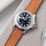 B&S Peccary Brown Heritage Leather Watch Strap on a Rolex 5513 Submariner