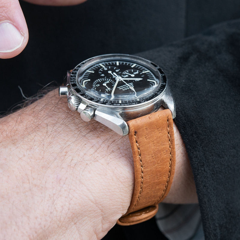 B&S Peccary Brown Heritage Leather Watch Strap on an Omega Speedmaster Professional