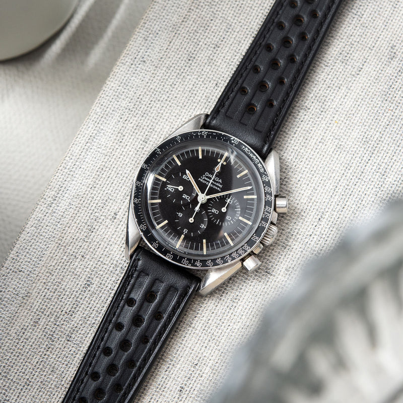 B&S Racing Black Speedy Leather Watch Strap on an Omega Seamaster