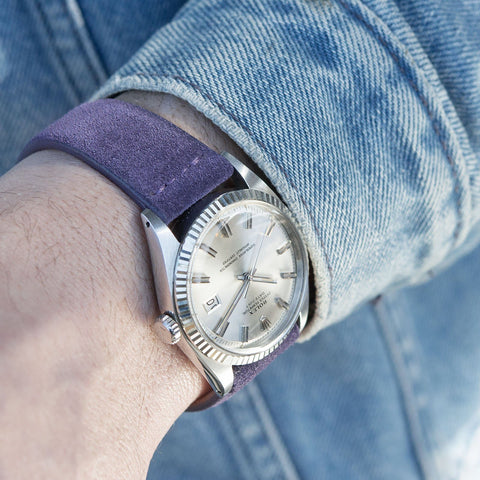 Rolex 1601 Datejust Purple Silky Suede Leather Watch Strap