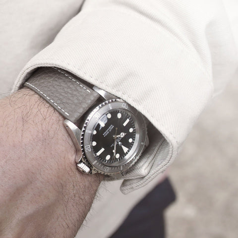 Rolex Structured Grey Leather Watch Strap