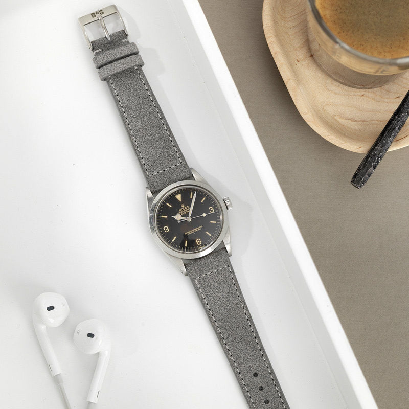 Rugged Grey Boxed Stitch Leather Watch Strap