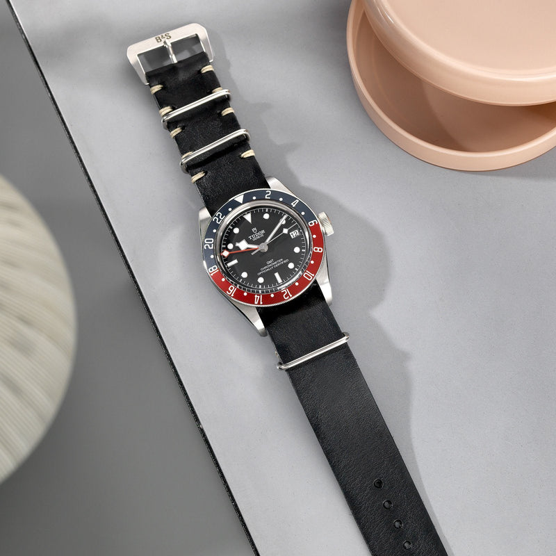 Black Nato Leather Watch Strap