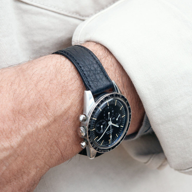 B&S Taurillon Black Speedy Leather Watch Strap on an Omega Speedmaster Ed White LR 12