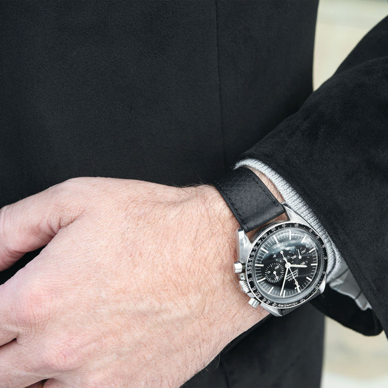 B&S Taurillon Black Speedy Leather Watch Strap on an Omega Speedmaster Ed White LR 16