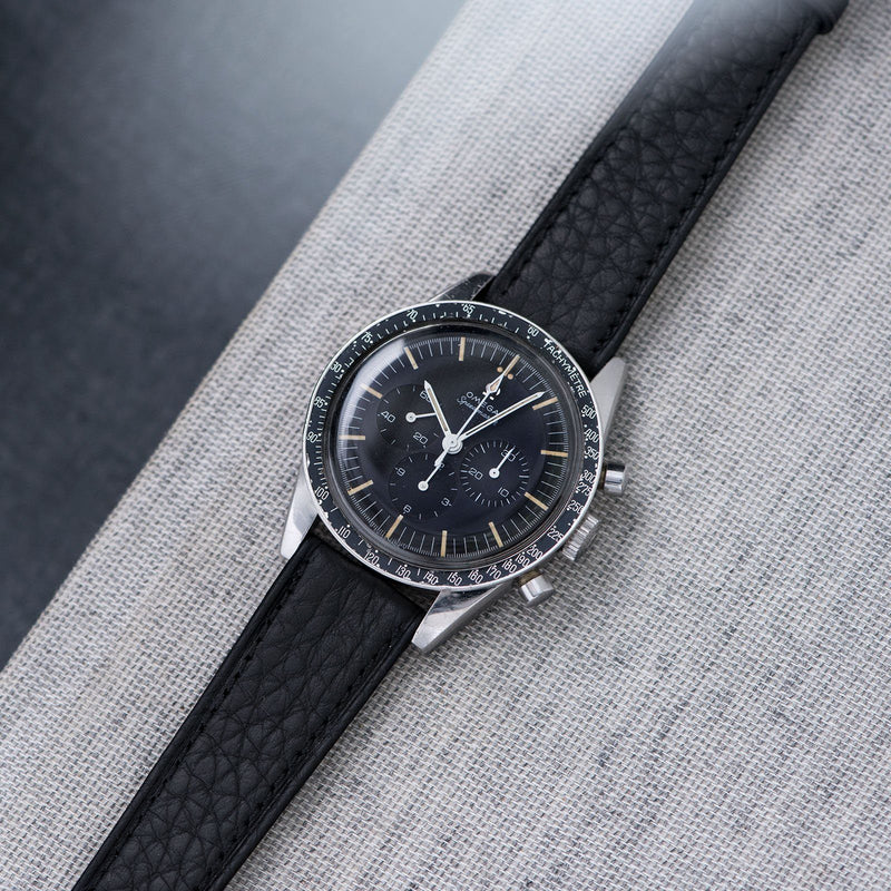 B&S Taurillon Black Speedy Leather Watch Strap on an Omega Speedmaster Ed White