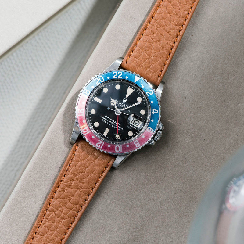 B&S Taurillon Brown Speedy Leather Watch Strap on a Rolex 1675 GMT