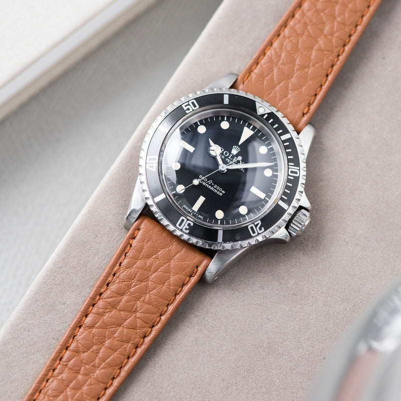 B&S Taurillon Brown Speedy Leather Watch Strap on a Rolex 5513 Submariner Black