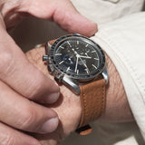 B&S Taurillon Brown Speedy Leather Watch Strap on an Omega Speedmaster Professional