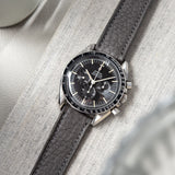 B&S Taurillon Grey Heritage Leather Watch Strap on a Omega Speedmaster Professional