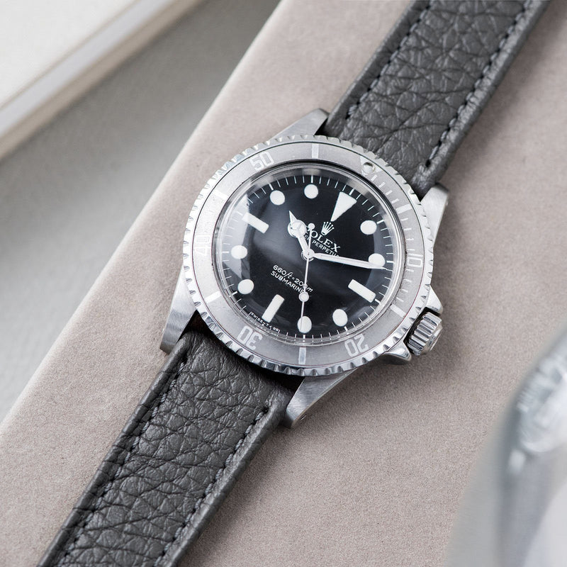B&S Taurillon Grey Heritage Leather Watch Strap on a Rolex 5513 Submariner