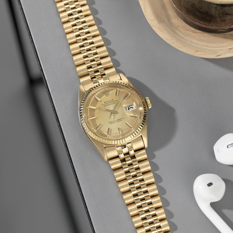Rolex Datejust Champagne Bubbles Patina Dial Ref. 1601 Yellow Gold