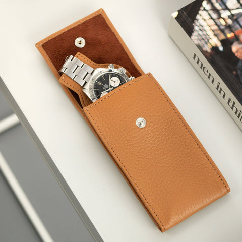 Medium Brown Luxury Leather Watch Pouch