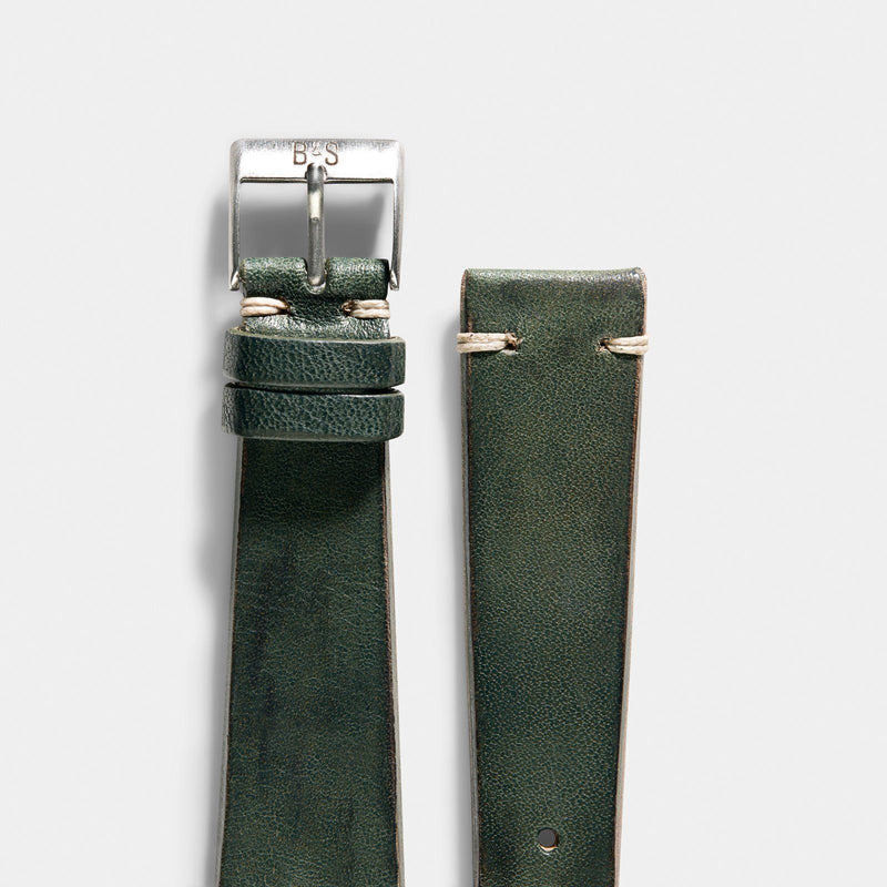 Vintage Green Leather Watch Strap