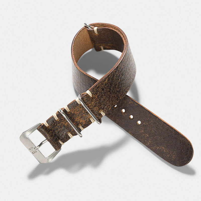 Woodie Brown Nato Leather Watch Strap