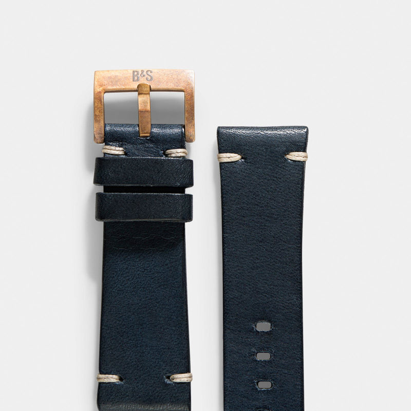 Bronze Perfect Match Blue Leather Watch Strap