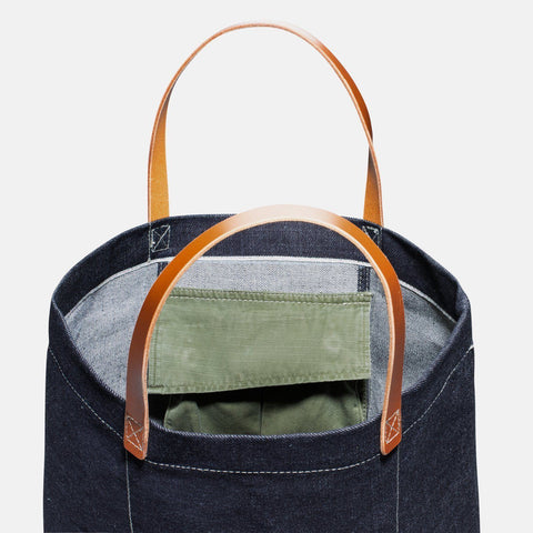 Custom Japanese Selvage Denim Tote Bag Olive Drab Green 2