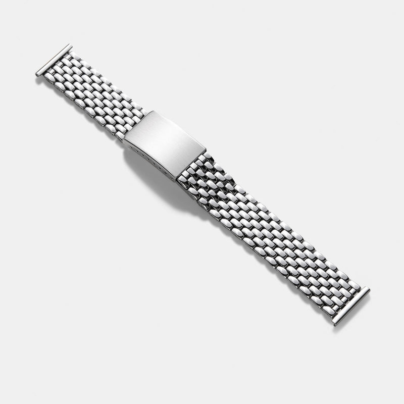 Beads Of Rice Full Polish Straight End Link Steel Watch Bracelet