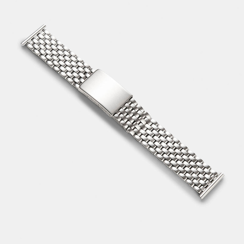 Beads Of Rice Matte Finish Straight End Link Steel Watch Bracelet
