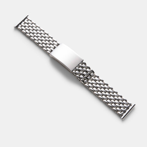 Beads Of Rice Straight End Link Steel Watch Bracelet