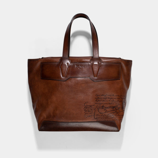 Berluti Scritto Brown Leather Tote