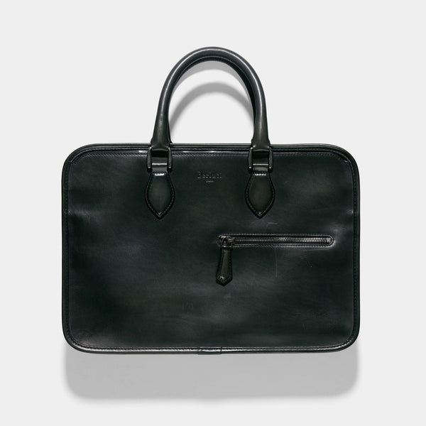 Berluti Un Jour Dark Green Venezia Leather Briefcase