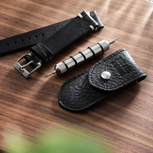 Black Leather Spring Bar Travel Tool Set