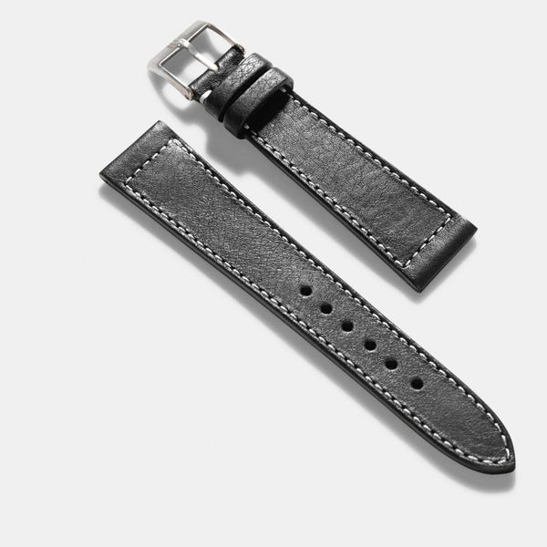 Black Boxed Stitch Leather Watch Strap