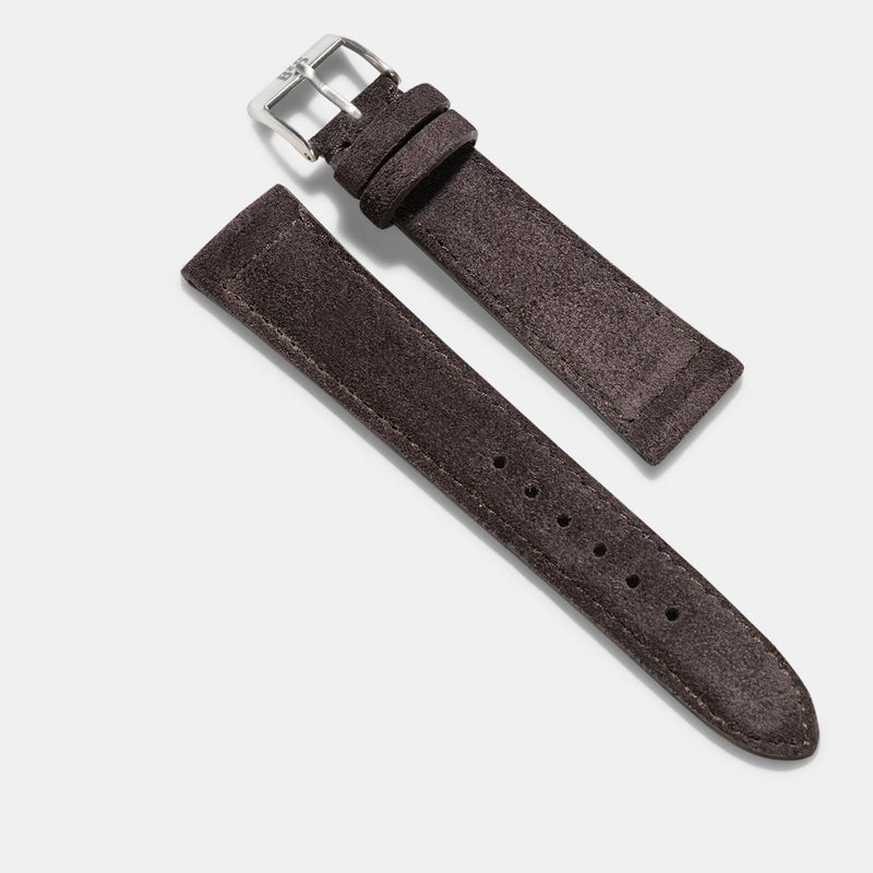 Black Brown Silky Suede Watch Strap
