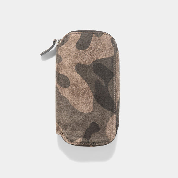 Black Camo 2 Watch Leather Zip Pouch