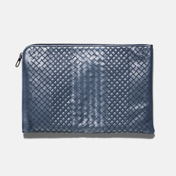 Bottega Veneta Blue Woven Leather Document Case