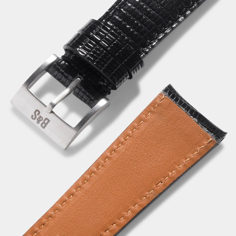 Brilliant Black Lizard Leather Watch Strap