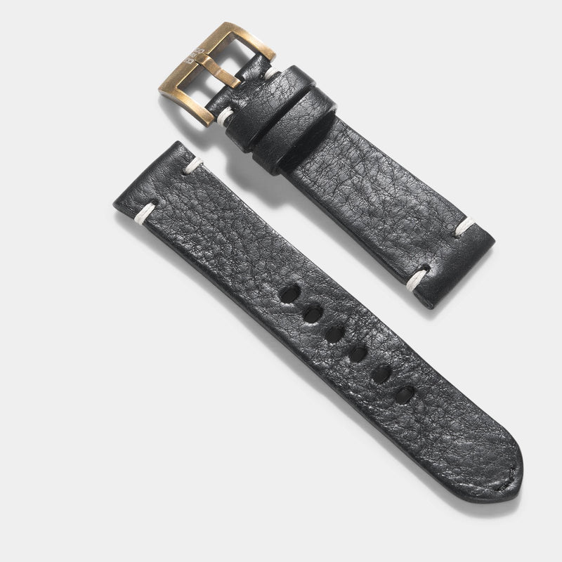 Bronze Perfect Match Black Leather Watch Strap