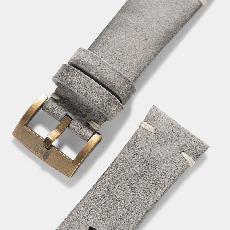 Bronze Perfect Match Rugged Grey Leather Watch Strap