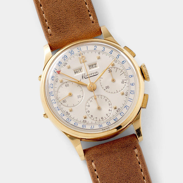Minerva Yellow Gold Calendar Chronograph 1950s