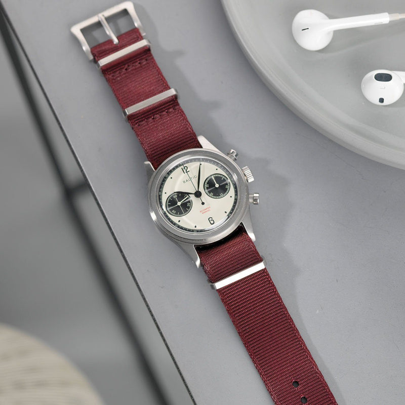 Baltic Chronograph Deluxe Nylon Nato Watch Strap Burgundy Red