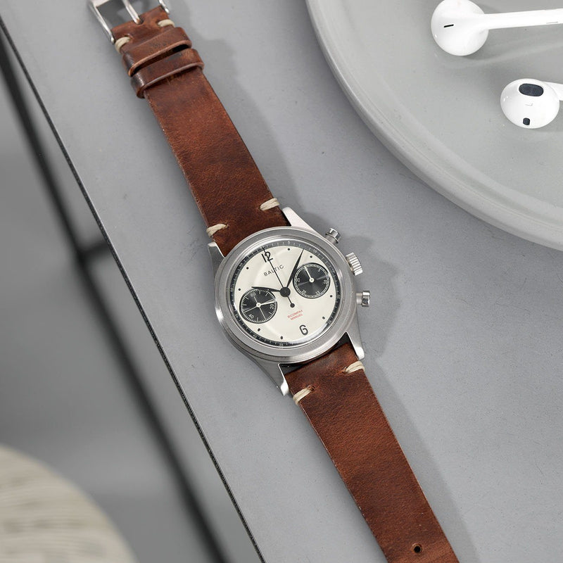 Baltic chronograph Siena Brown Leather Watch Strap