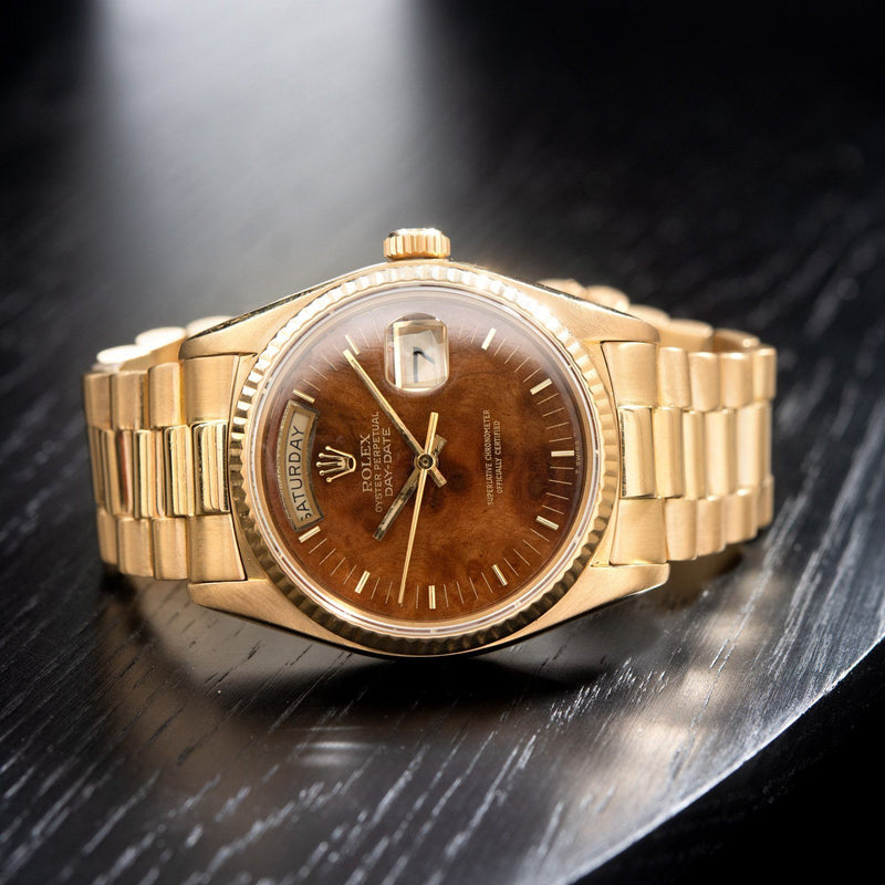 Rolex Day-Date Wood Dial Single Quickset 18038