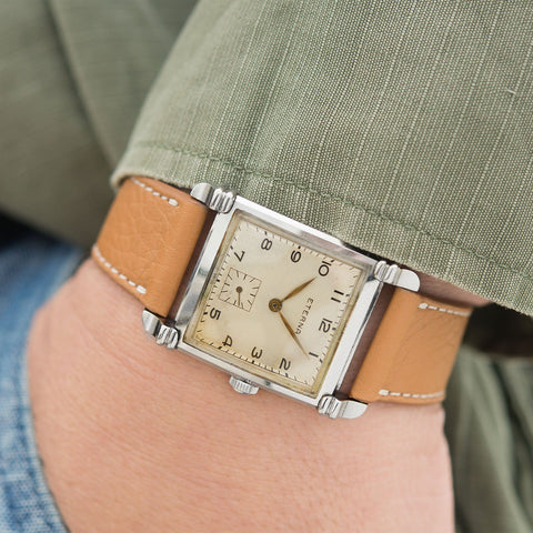 Eterna Square Case Steel Dress Watch 1940s