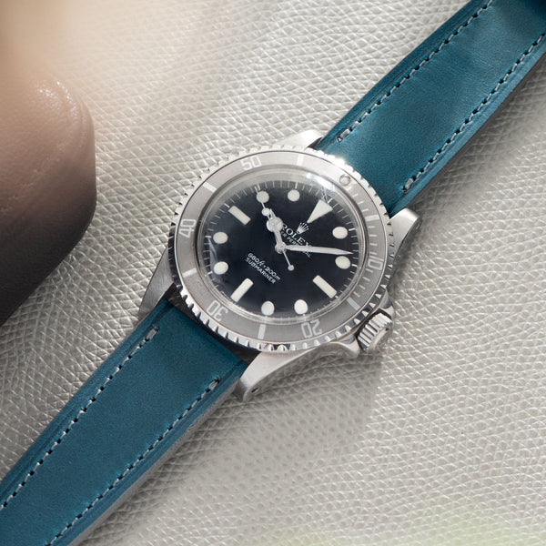Château de Cassis Blue Horween Leather Watch Strap On a Rolex 5513 Maxi Mk1 Submariner