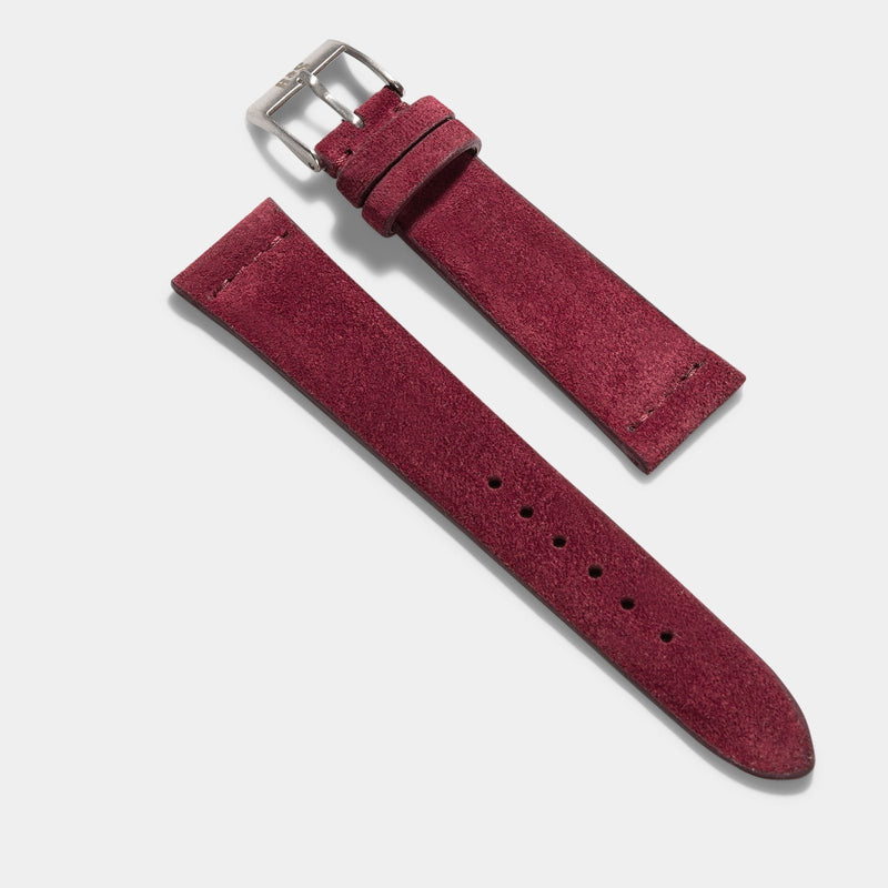 Burgundy Red Silky Suede Leather Watch Strap