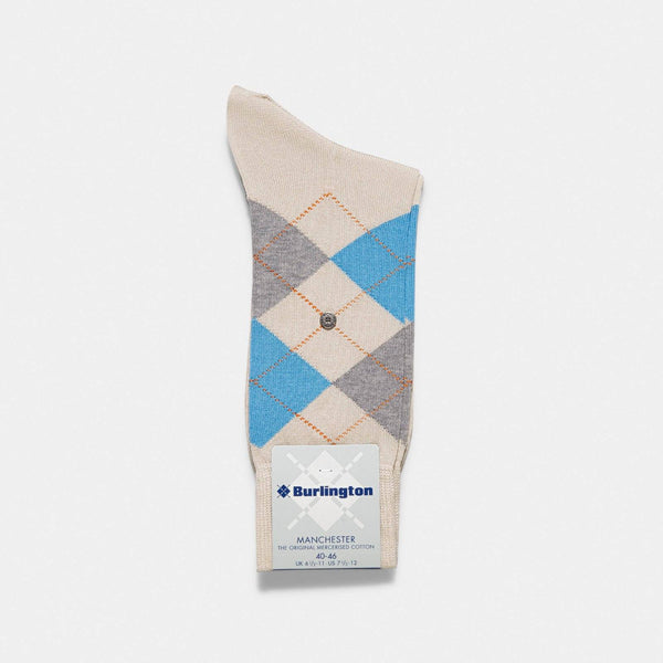 Burlington Manchester Beige Argyle Socks